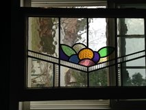 Antique Large English Leaded Stain Glass Window many colors Bold Design in Cherry Point, North Carolina