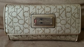 MAKE OFFER!-Women's Authentic Calvin Klein/CK Tan/Brown Wallet W/ CK Logo in Naperville, Illinois