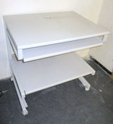 Sturdy White Computer Desk with extendable Keyboard Shelf in Ramstein, Germany