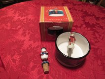 Christmas Dip Bowl~Serving Knife &Snowman Wine Cork in Yorkville, Illinois