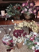 Variety of faux flowers in vases & baskets in Sandwich, Illinois