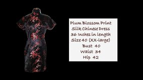Plum Blossom Print Silk Chinese Dress in Belleville, Illinois