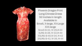 Red Phoenix Dragon Print long Chinese Dress in Belleville, Illinois