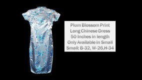 Light Blue Plum blossom Print Long Chinese Dress in Belleville, Illinois