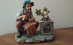 Homoco Old Carpenter Man with Dog Porcelain Statue in Conroe, Texas