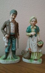 Farming Man & Lady Porcelain Statues in Conroe, Texas