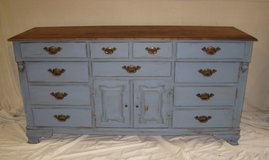 Updated Solid wood Dresser/Buffet- wedgewood blue in Houston, Texas
