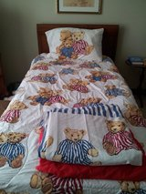 Twin bed sheets, comforter and bedskirt in Lockport, Illinois