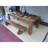 recycled wood custom block leg table made in USA in Los Angeles, California
