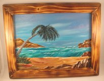 Palm Tree Ocean Seascape Acrylic Painting in Burned Wood Frame Wall Decor 9x12 in Warner Robins, Georgia