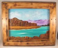 Mountain Lake Landscape Acrylic Painting in Burned Wood Frame Wall Hanging 9x12 in Warner Robins, Georgia