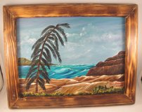 Acrylic Painting in Custom Wood Frame Wall Decor Hanging Ocean Seascape 9 x 12 in Warner Robins, Georgia