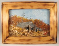 Acrylic Landscape Painting Custom Burnt Wood Frame Cabin Barn Autumn Fall 6x9 in Warner Robins, Georgia