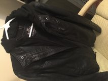 Size small express leather jacket with hood in Beaufort, South Carolina