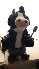 Blue Moon singing and dancing plush cow in Nellis AFB, Nevada