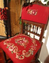 Antique Red Hand Embroiderd Chair in Ramstein, Germany
