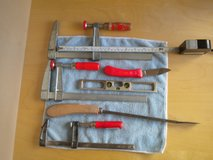 "Leather Bag with 4 BAR CLAMPS (additional one not in pic)Heavy Duty Woodworking Tools, knife, 6""... in Ramstein, Germany"