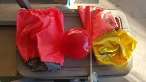 2 sand anchor bags,flag,and small bouy in 29 Palms, California