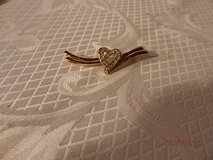 Goldtone and Rhinestone Heart Pin in Joliet, Illinois