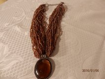 """20"""" Vintage Multi Strand Brown Necklace with Brown Pendent in Chicago, Illinois"""