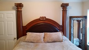 King Size Bed Frame (Wood/Leather) with Mattress and Box Springs in Kansas City, Missouri