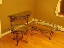 Glass, 3 piece, Console, Coffee, and End table in Schaumburg, Illinois