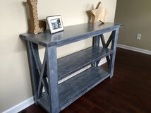 Wood X frame console entryway table in Camp Lejeune, North Carolina