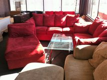 Red Microfiber 2 Pc Living Room Set W/ Chaise Lounge in Fort Polk, Louisiana
