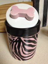 NEW FURRY FRIENDS & CO pink & black zebra stripe ceramic pet treat jar in Naperville, Illinois