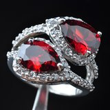 NEW - Garnet and White Topaz Ring - Size 6 3/4 in Alamogordo, New Mexico