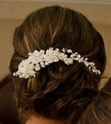 Freshwater Pearl Side Accent Wedding Headpiece in Okinawa, Japan