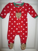 Baby Girl Sz 3 Mo 1 piece Reindeer Polka Dot Red Pajamas Just One You PERFECT! in Plainfield, Illinois