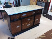 Antique buffet w/granite top in Camp Lejeune, North Carolina