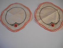 "Vintage 2 Round Doilies w/Hand Embroidered Edge 9 1/2 "" in Phoenix, Arizona"