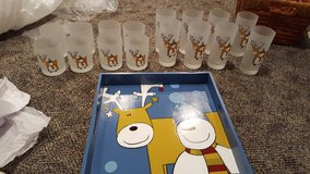 Christmas glasses and tray in Joliet, Illinois