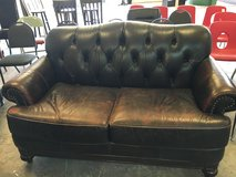 Dark Brown/Expresso Leather Couch in Glendale Heights, Illinois