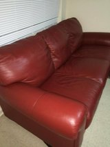 Red Leather Couch/Sofa in Montgomery, Alabama
