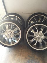 Rims with tires in Lawton, Oklahoma