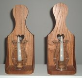 New 2 Wooden Heart Eched Glass Dome Candle Holders with Candles Hang or Display in Morris, Illinois