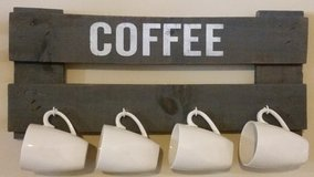 Pallet coffee cup holder and sign in Houston, Texas