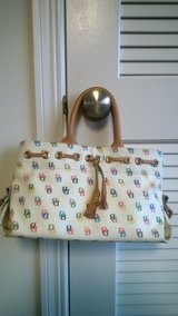 NEW LOW PRICE!-LIKE NEW Authentic Women's Dooney & Bourke White Multi-Color Logo Purse W/ Strap in Naperville, Illinois