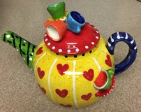 NEW COLORFUL 3D TEAPOT WITH LID, NEVER USED in Lakenheath, UK