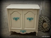 Cabinet / Nightstand in White and Teal in Naperville, Illinois