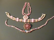 Vintage Set of Jewelry Pink Tone Crystal/Glass Beads USA in Phoenix, Arizona
