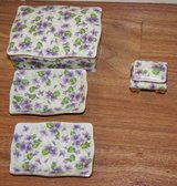 VINTAGE LEFTON CHINA, VIOLETS x6pcs in Lakenheath, UK