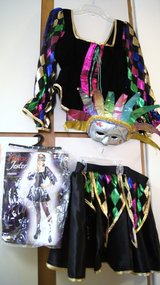 FEMALE JESTER OR MARDI GRAS COSTUME & MASK in Lakenheath, UK