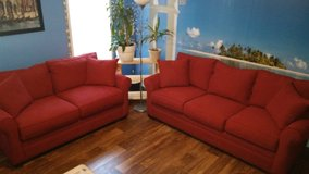 Sofa and Loveseat red like new only 3 month old in Hinesville, Georgia