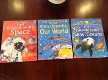 3 Usborne First Encyclopedia Paperback Books: Space, Our World, & Seas and Oceans in Westmont, Illinois