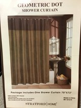 SHOWER CURTAINS, BROWN & OLIVE WITH RINGS x2 SETS in Lakenheath, UK