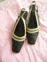 Slingback black/beige shoes size 5 in Lakenheath, UK